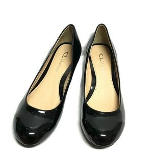 CL By Laundry Marcie Black Patent Wedge Heel  Sz 8